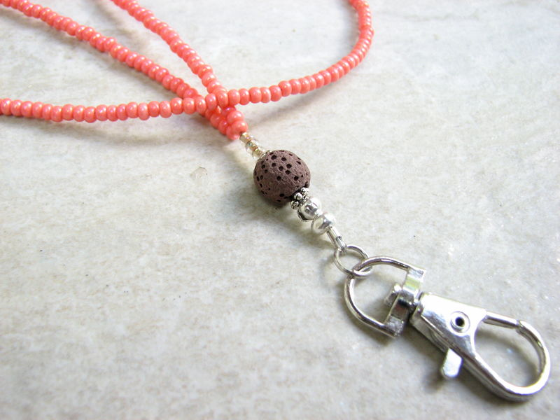 Lava and Coral Bead Lanyard - product images  of