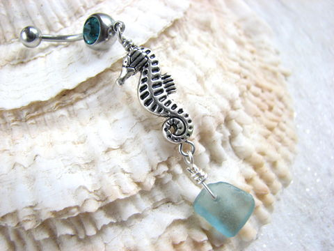 Seahorse,Belly,Ring,with,Aqua,Sea,Glass,seahorse belly ring, ocean belly button rings, sea glass belly piercing, long, dangly, dangle, seaglass, sea horse, aqua blue sea glass, beach glass, nautical, summer belly rings, sea horse jewelry, sea glass jewelry, aqua blue piercing