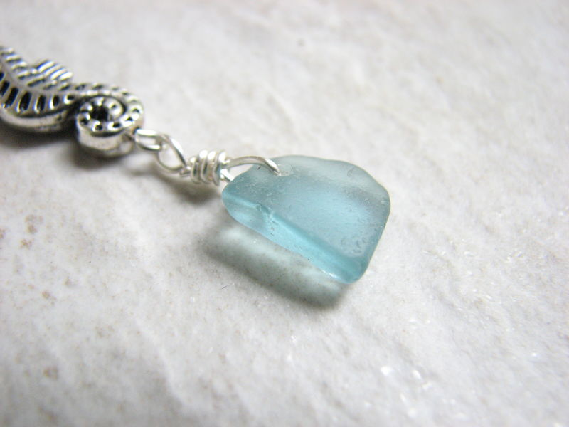 Seahorse Belly Ring with Aqua Sea Glass - product images  of