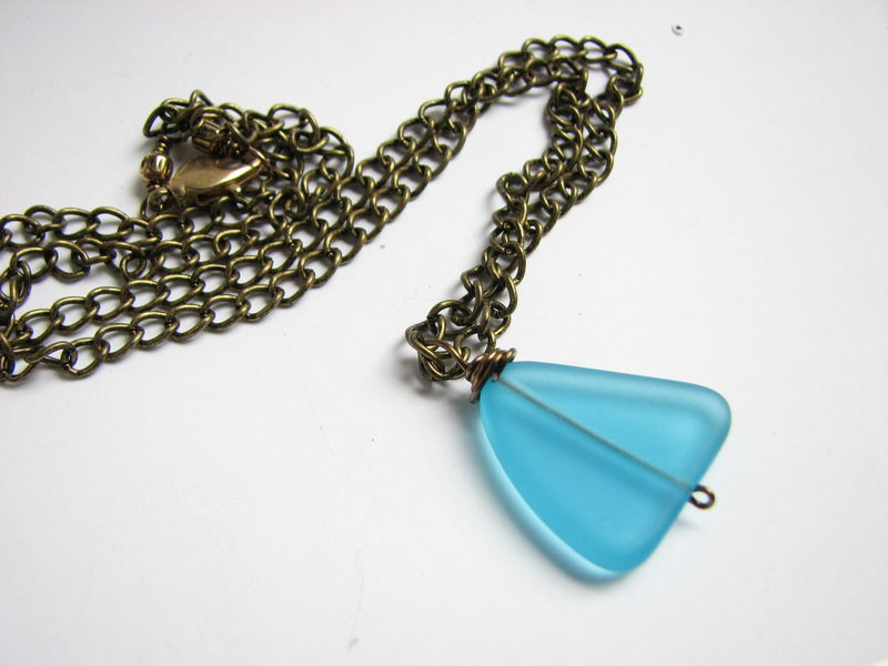 Recycled Sea Glass Necklace in Blue and Brass - product images  of