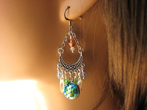 Blue,&,Green,Crystal,Chandelier,Mermaid,Earrings,Crystal mermaid earrings, crystal mermaid jewelry, sparkling mermaid earrings, mermaid chandelier earrings, blue and green wire wrapped earrings, chandelier ocean earrings, long mermaid earrings, fancy beach earrings, mermaid tail jewelry, ocean theme ear