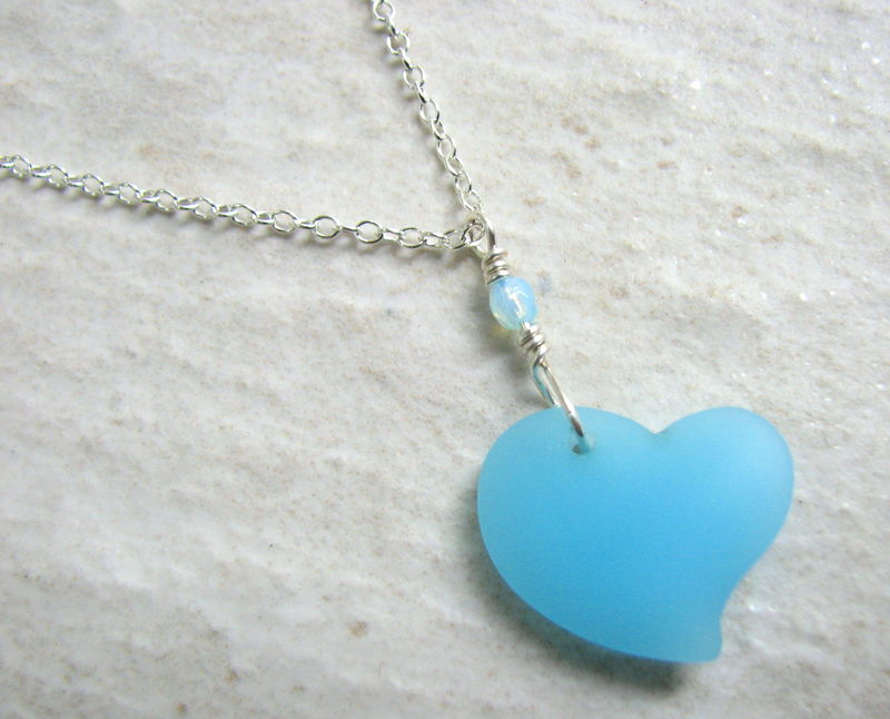 Opaque Cultured Sea Glass Heart Necklace - product images  of