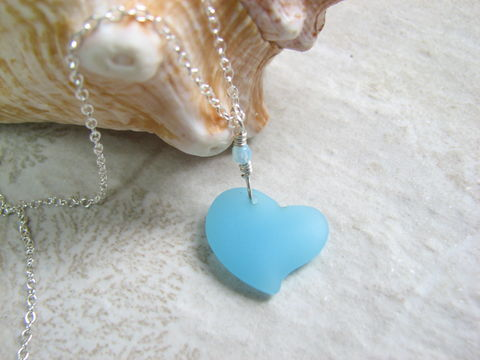 Opaque,Cultured,Sea,Glass,Heart,Necklace,opaque sea glass heart, sea glass on sterling silver, silver chain necklace, 18 inch sea glass necklace, aqua blue heart pendant, sea glass heart necklace, blue heart pendant, cultured sea glass, man made sea glass, hand made jewelry, sea glass jewelry, o