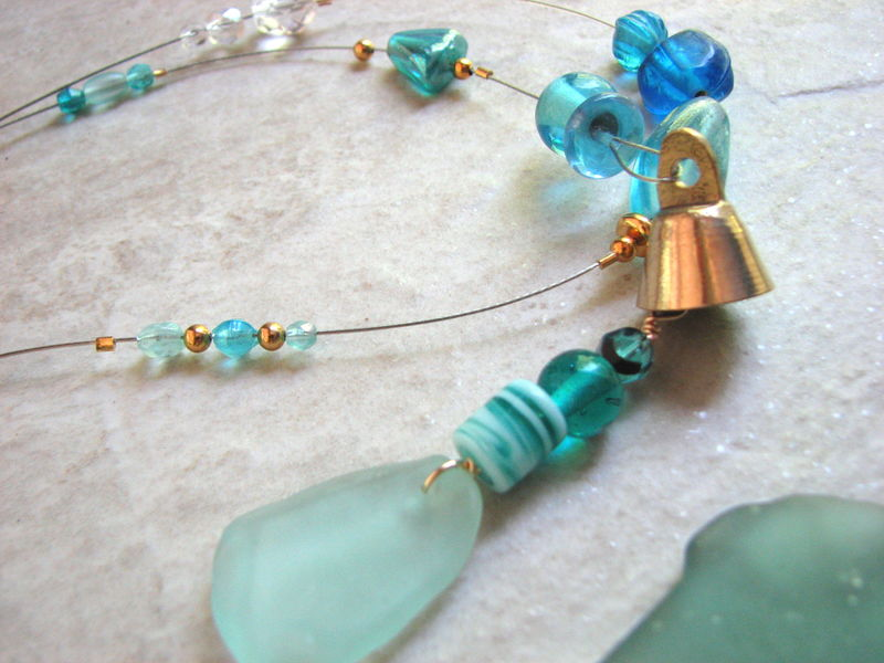 Aqua Blue Seaglass Wind Chime, Long Beaded Ocean Suncatcher  - product images  of