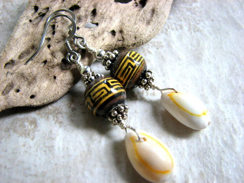 Tribal,Peruvian,Ceramic,and,Cowrie,Shell,Earrings,cowrie sea shell jewelry, cowry earrings, beaded shell dangles, tropical beach jewelry, golden cowrie, handmade, sterling silver, Peruvian ceramic bead, tribal shell earrings, cowrie earrings, bits off the beach, brown, yellow,