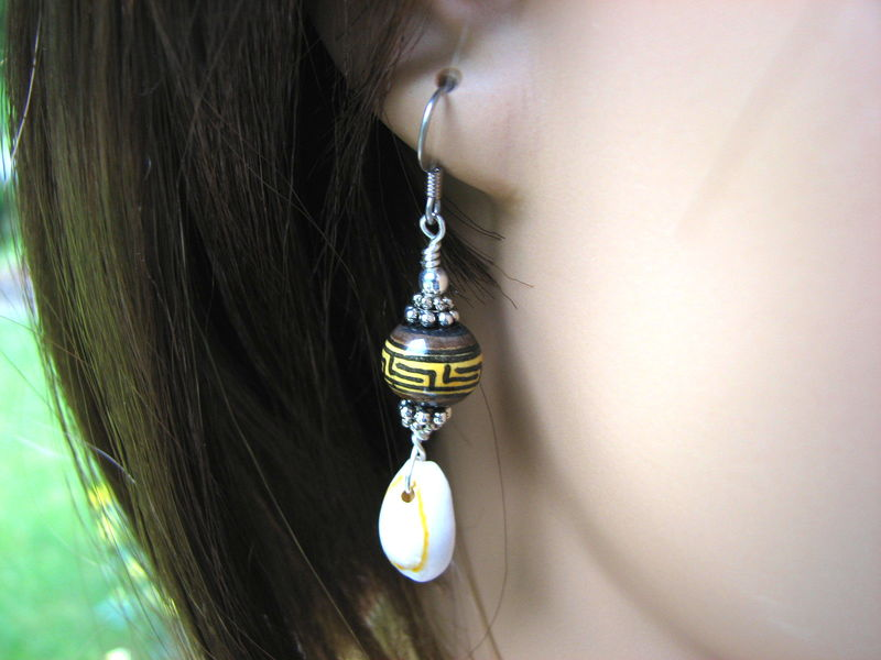 Tribal Peruvian Ceramic and Cowrie Shell Earrings - product images  of