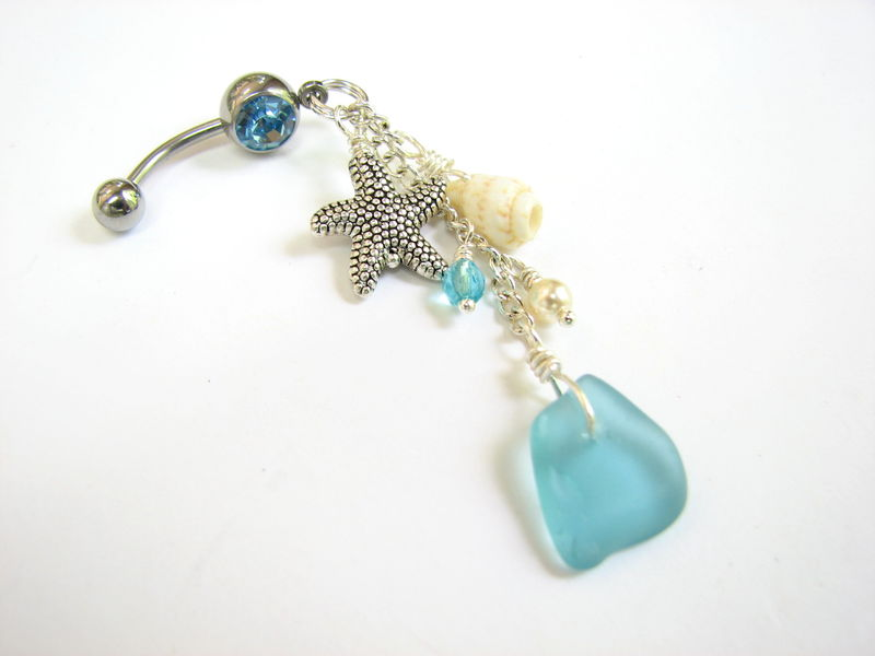 Aqua Blue Sea Glass and Starfish Belly Ring - product images  of