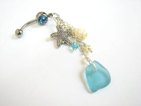 Aqua,Blue,Sea,Glass,and,Starfish,Belly,Ring,long, dangly, beachy vibe, turquoise blue, aquamarine, beach glass, natural, belly button ring, navel ring, body jewelry, ocean jewelry, beach bling belly ring, belly button jewelry, seaglass, sea glass belly ring,