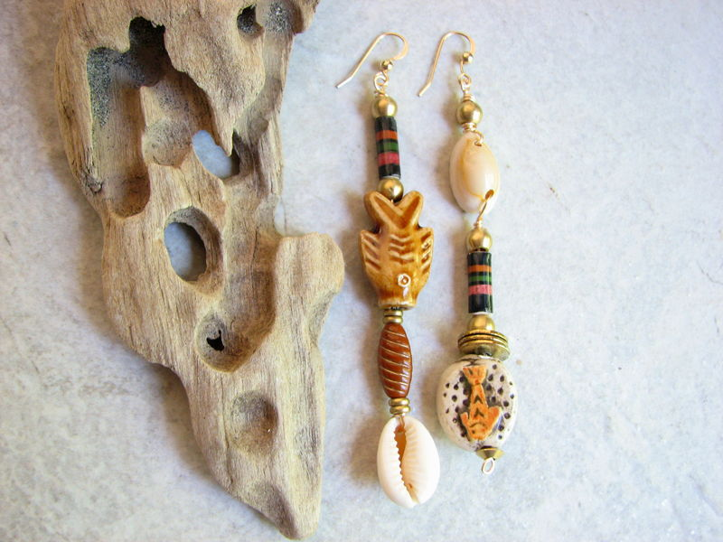 Asymmetric Sea Shell Earrings, Mismatched Long Ocean Dangles - product images  of
