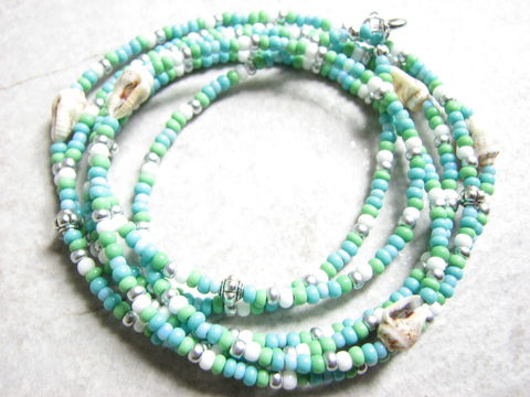 Long,Seed,Bead,and,Sea,Shell,Necklace,,Green,Blue,Ocean,Jewelry,seed bead jewelry, turquoise seed bead necklace, beaded sea shell necklace, casual beach jewelry, 46 inch long necklace, wrap necklace, wrap anklet, wrap bracelet, blue and green ocean jewelry, love beads, hippie beads