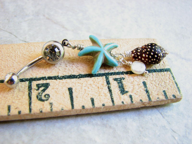 Sea Shell, Pearl and Starfish Belly Ring - product images  of