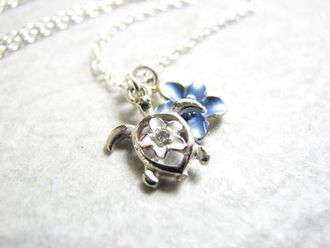 Sea,Turtle,and,Tropical,Flower,Necklace,flora and fauna jewelry, tropical necklace, sea turtle necklace, blue flower necklace, sea turtle jewelry, ocean jewelry, beach necklace, sterling silver, 18 inch chain, silver sea turtle, rhinestone turtle, ocean charm necklace