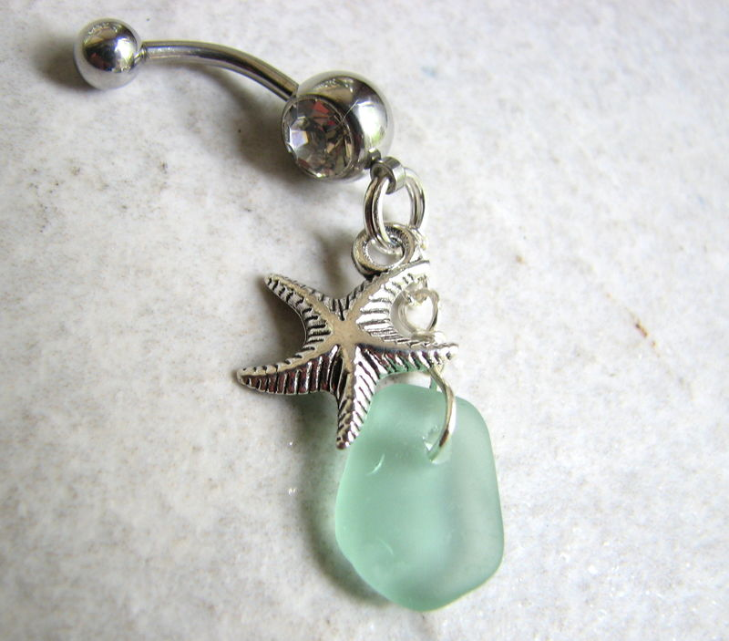 Silver Starfish and Seafoam Sea Glass Dangle Belly Button Piercing - product images  of