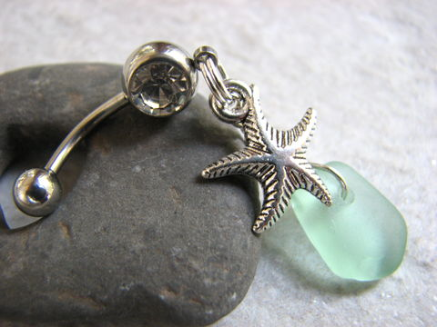 Silver,Starfish,and,Seafoam,Sea,Glass,Dangle,Belly,Button,Piercing,starfish belly button rings, sea glass belly button, seafoam green belly, seafoam blue belly, silver starfish navel, ocean body jewelry, sea glass navel, navel piercing, starfish belly button jewelry, sea glass belly button jewelry, beach glass, dangle be