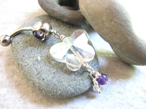 Crystal,and,Purple,Amethyst,Butterfly,Belly,Ring,butterfly belly button piercing, crystal butterfly belly, butterfly navel ring, amethyst bead dangle, crystal dangle, clear crystal, purple belly button jewelry, flying insect jewelry, summer body jewelry, bellybutton