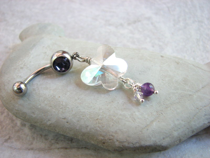 Crystal and Purple Amethyst Butterfly Belly Ring - product images  of