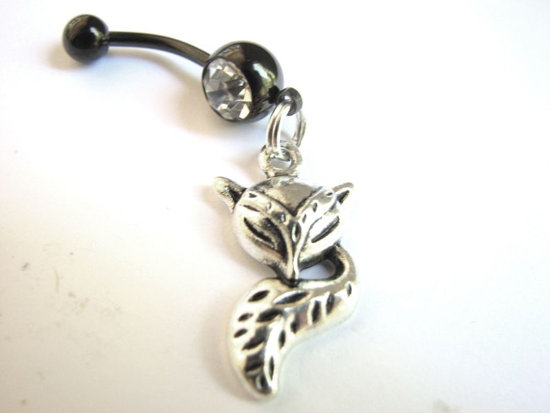 Silver Fox Belly Button Ring Piercing - product images  of