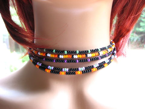 Adjustable,Seed,Bead,Choker,Necklace,teen choker, teen girl necklace, seed bead necklace, seed bead choker, gothic, dark, halloween jewelry, Halloween choker, adjustable choker, black chokers, dainty necklace, beaded jewelry, boho bead choker, candy corn necklace