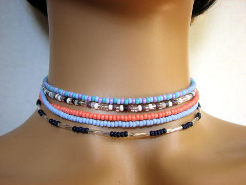 Dainty,Seed,Bead,Chokers,seed bead choker, beaded choker, dainty choker necklace, colored choker, coral choker, blue choker, navy blue choker, multi color, layering choker, layering necklace, fashion chokers, trendy jewelry, adjustable choker