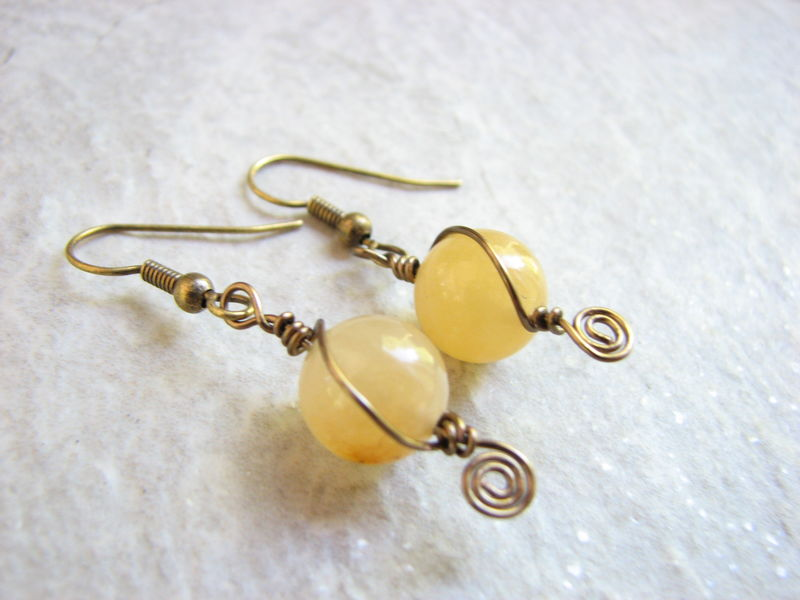 Brass and Yellow Calcite Stone Earrings - product images  of