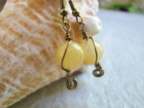 Brass,and,Yellow,Calcite,Stone,Earrings,yellow earrings, calcite earrings, yellow stone, natural stone beads, purifying stone earrings, brass wrapped earrings, brass dangle earrings, yellow calcite, ocher earrings, yellow calcite jewelry, handmade earrings