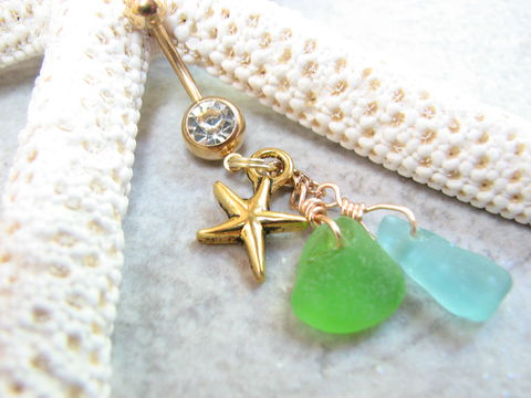 Green,&,Blue,Sea,Glass,and,Starfish,Belly,Button,Piercing,belly button piercing, gold, sea glass belly rings, beach glass, seaglass, navel rings, starfish belly, sea star belly, gold navel rings, gold titanium belly bar, dangle belly rings, beach navel ring, ocean belly ring, belly button rings, body jewelry