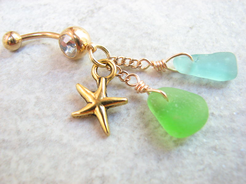 Green & Blue Sea Glass and Starfish Belly Button Piercing - product images  of