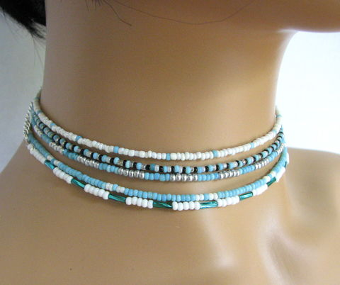 Skinny,Turquoise,Blue,Bead,Choker,Necklaces,skinny choker, seed bead choker, aqua blue choker, turquoise choker, dainty bead chokers, layer necklaces, adjustable choker, thin bead choker, dainty choker necklace, teen jewelry, friendship choker, turquoise and white choker, turquoise and black choker