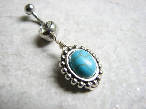 Vintage,Framed,Turquoise,Belly,Button,Piercing,turquoise navel, turquoise body jewelry, stone belly ring, dangle charm, dyed howlite, turquoise blue, southwestern belly jewelry, belly button rings, handmade, silver, surgical steel, stainless steel, antiqued silver edge, turquoise and silver