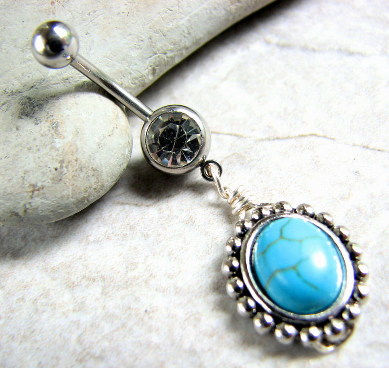 Vintage Framed Turquoise Belly Button Piercing - product images  of
