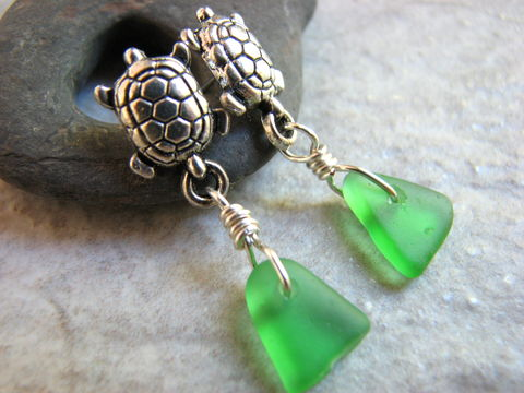 Sea,Turtle,and,Glass,Post,Earrings,sea turtle jewelry, sea turtle earrings, green sea glass jewelry, seaglass, beach glass, dangle post earrings, beach glass earrings, ocean jewelry for women, nautical sea animal jewelry, sea glass gifts for women, sea glass dangles, stainless steel post,