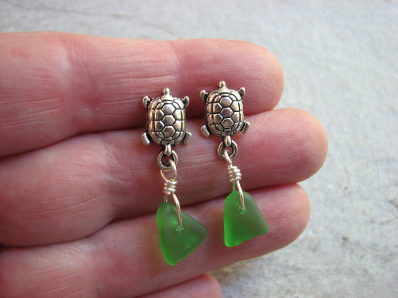 Sea Turtle and Sea Glass Post Earrings - product images  of