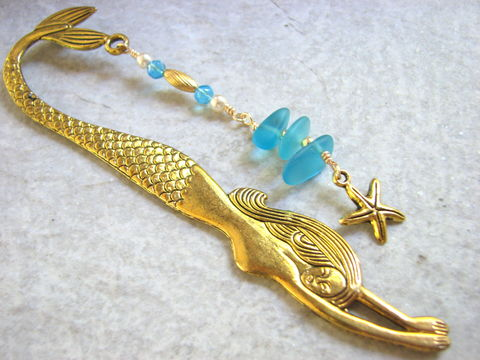 Gold,Mermaid,Bookmark,,Beaded,Aqua,Sea,Glass,and,Starfish,gold mermaid, mermaid bookmark, mermaid book mark, sea glass bookmark, aqua,  blue,seaglass book mark, starfish bookmark, beaded bookmark, readers gift, librarian, teacher , page marker, book accessory, ocean bookmark, beach bookmark, gold bookmark