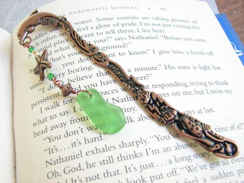 Copper Dolphin Bookmark with Starfish and Sea Glass, Reader's Gifts - product images  of