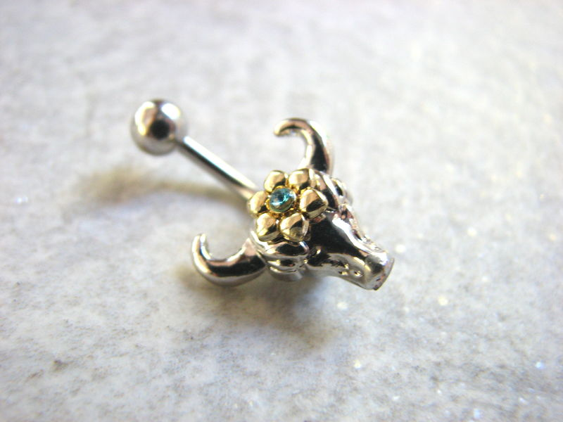 Small and Dainty Cow Skull Belly Ring - product images  of