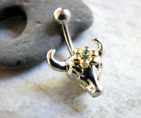 Small,and,Dainty,Cow,Skull,Belly,Ring,cow head belly,  cow skull belly, feminine cow, flowered cow, silver cow, bull head, belly button ring, piercing, navel rings, small, short, non dangle, post, stud, western, southwestern flair, gothic, stainless steel
