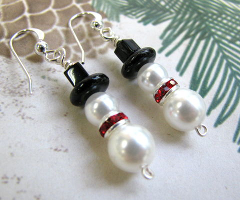 Pearl,and,Crystal,Snowman,Christmas,Earrings,pearl snowman, crystal snowman, snowmen earrings, snowman earrings, christmas earrings, cute holiday earrings, sterling silver snowman, silver plated, snowman charm earrings, handmade earrings, festive winter earrings, christmas jewelry, snowman jewelry