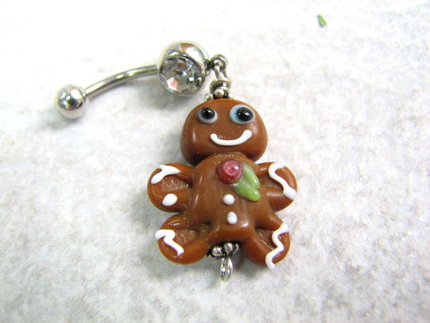 Lampwork,Glass,Gingerbread,Man,Belly,Button,Piercing,Ring,christmas belly ring, gingerbread man navel ring, holiday cookie jewelry, gingerbread belly button piercing, gingerbread cookie jewelry, cute teen gifts, cute belly rings, lampwork glass, surgical stainless steel, 14GA, handmade, crafted, one of a kind, u