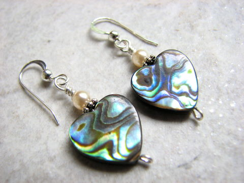 Abalone,Sea,Shell,Heart,Earrings,abalone heart earrings, shell heart earrings, abalone jewelry, heart jewelry, seashell earrings, blue & green shell, paua shell hearts, beach dangle earrings, wife gifts, girlfriend gifts, anniversary day gift, sterling silver hook, valentines day jewelry