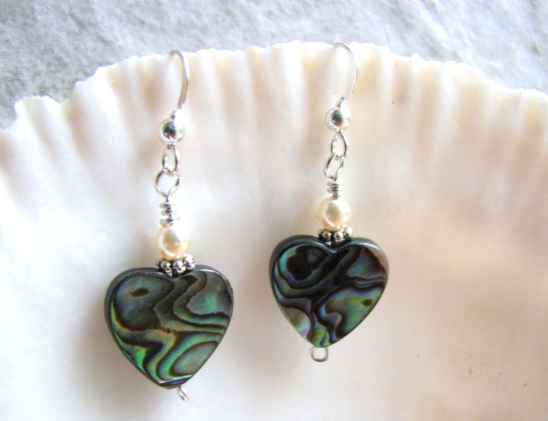 Abalone Sea Shell Heart Earrings - product images  of