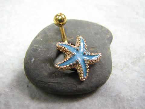 Aqua,Blue,and,Gold,Anodized,Titanium,Starfish,Belly,Button,Ring,aqua, blue, gold, anodized titanium, belly bar, starfish belly ring, short belly button ring, ocean navel piercing, enameled starfish, starfish body jewelry, beach piercings, cute belly rings, star fish belly, sea star belly, bellybutton rings, belly butt