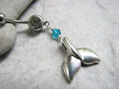 Whale,Tail,Belly,Button,Piercing,,Silver,and,Teal,Dangle,Navel,Jewelry,whale belly ring, whale tail jewelry, whale fin belly button ring, surgical steel, stainless steel, dangle navel rings, pierced navel jewelry, ocean body jewelry, beaded dangle belly, beach body piercing, hawaii whale, fish tail bellybutton ring, bellyrin