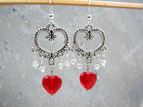 Red,Heart,&,Crystal,Chandelier,Earrings,for,Valentines,Day,red heart earrings, crystal heart earrings, heart chandelier earrings, handmade heart dangles, valentines day earrings, inexpensive valentine gift, crystal chandelier earrings