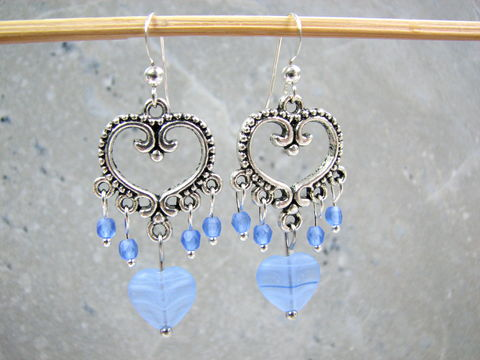 Blue,Filigree,Heart,Beaded,Valentine,Dangle,Earrings,blue heart earrings, filigree heart, vintage style heart, beaded chandelier earrings, frosted blue glass, blue and silver, blue valentines, classic dangle earrings, handmade valentine jewelry, valentines day earrings, gift for wife, gift for sweetheart, v