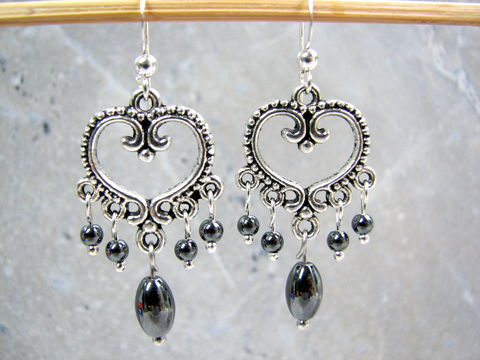 Hematite,Stone,Chandelier,Heart,Earrings,,Valentines,Gifts,for,Her,hematite chandelier earrings, hematite heart earrings, black heart earrings, Black valentines, hematite gifts for her, hematite dangle earrings, hematite cluster earrings, hematite womens jewelry, Valentines Day Heart Earrings, Natural Stone earrings, bla
