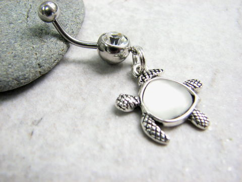 Sea,Turtle,Charm,Belly,Button,Piercing,sea turtle charm, dangle belly ring, white sea glass, sea glass belly ring, honu jewelry, Hawaiian sea turtle, sea glass turtle, ocean animal jewelry, turtle body jewelry, belly button jewelry, turtle navel ring, cute beach belly rings, stainless steel be
