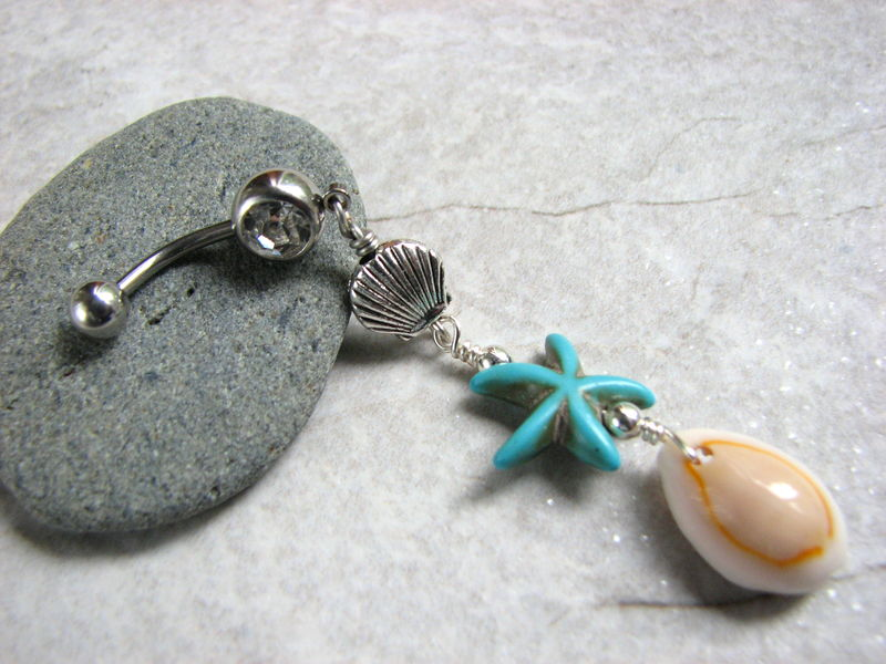 Turquoise Starfish and Cowrie Shell Long Belly Button Piercing - product images  of