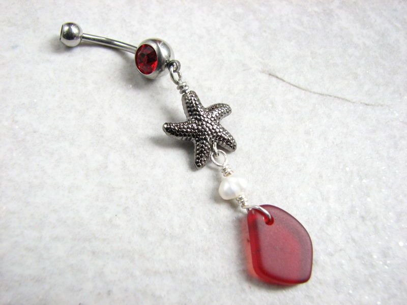 Starfish, Pearl and Red Sea Glass Belly Ring - product images  of