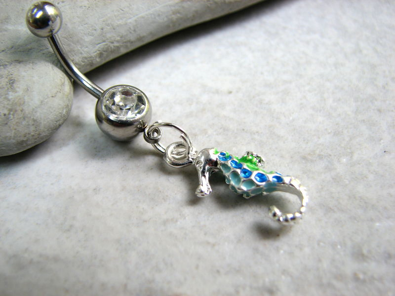 Colorful Seahorse Belly Button Ring Piercing - product images  of