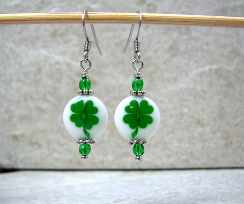 Shamrock,St,Patrick's,Day,Lucky,Irish,Earrings,shamrock earrings, st patrick day earrings, lucky earrings, white and green earrings, st patricks jewelry, four leaf clover earrings, green clover earrings, shamrock dangles, march party jewelry, sterling ear wires, stainless ear wires